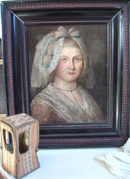 Antikes französisches Damen Porträt Öl/Leinen  19. Jahrhundert