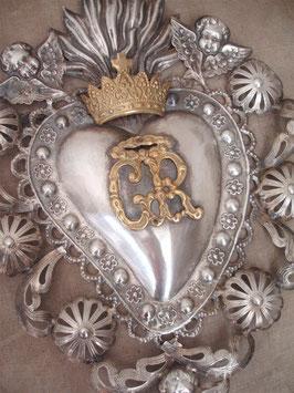 Antikes großes Votiv / Flammendes Herz aus Silber!