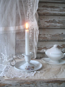 Shabby: Zauberhafter alter Emaille Kerzenständer Frankreich