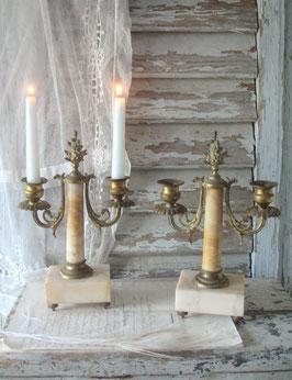 Wunderschönes Paar antiker Kaminleuchter 2-flammig, Frankreich 19. Jahrh.