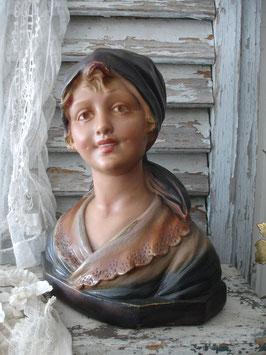 Wunderbare große Mädchen Gips Büste aus Frankreich 1900