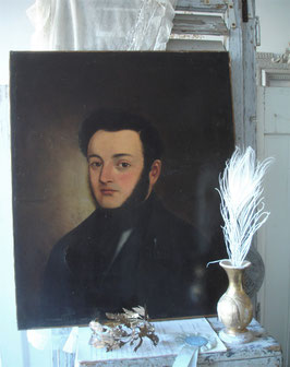 Antikes Herren Porträt Ölgemälde, Frankreich 19. Jahrhundert