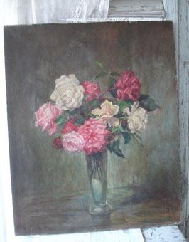 Antikes großes Gemälde Rosenbouquet Frankreich um 1900