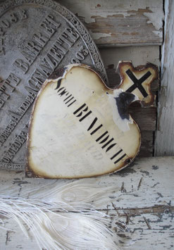 Antikes großes französisches Emaille Herz 1912