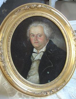 Antikes Porträt eines Edelmannes im Goldrahmen 1840