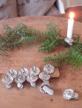 Shabby: Set alter kleiner Kerzenklemmen / Clips Weihnachten