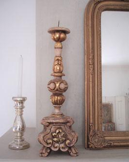 Antiker großer Barock Holz Kerzenleuchter