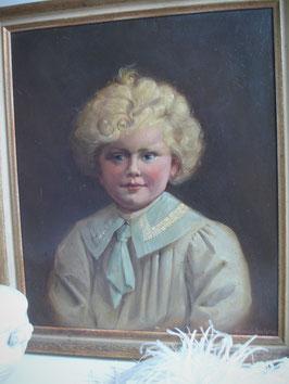 Süßes altes Jungen Porträt Öl auf Leinen um 1900