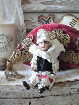 Antike kleine Porzellan Puppe Pierrot aus Frankreich