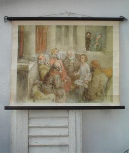 """Alte Schullehrkarte / Wandkarte """"Jesus im Tempel"""""""