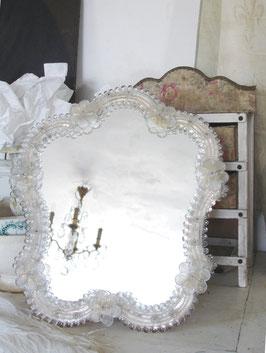 Traumhafter alter großer Murano Spiegel Glasblüten