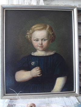Zauberhaftes  Mädchen Porträt Ölgemälde 19. Jahrhundert