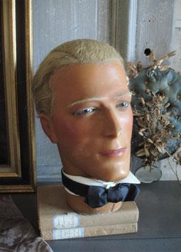 RAR: Antiker Hutkopf Mannequin Wachs Fa. Siegel Paris