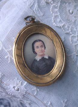 Zauberhafte Miniatur - Porträt einer jungen Dame von 1880