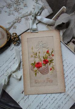 """Antike bestickte Postkarte """"Bonne Fete"""" Frankreich"""