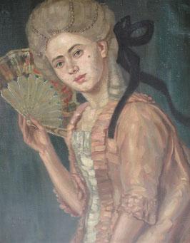 Zauberhaftes Porträt Mädchen mit Fächer um 1900