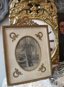 RAR: Antiker großer Messing Rahmen Bekrönung um 1880