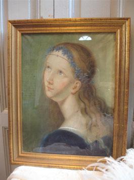 Zauberhaftes antikes Pastell Portrait 19. Jahrhundert