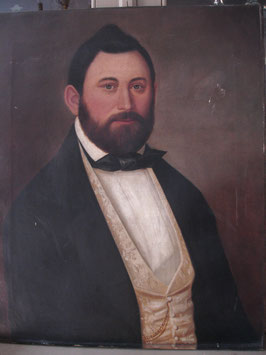 Stattliches antikes Herren Porträt Öl auf Leinen um 1900