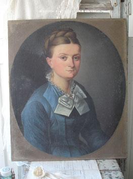 Zauberhaftes Mädchen Porträt Ölgemälde Frankreich 19. Jahrh.
