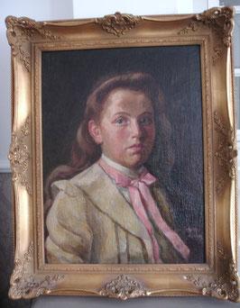 Antikes Mädchen Porträt Öl auf Leinen
