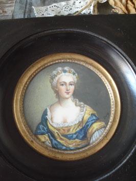 Zauberhafte alte Miniatur Porträt Lupenmalerei Frankreich