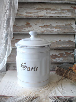 """Alte große französische Emaille Vorratsdose """"Sucre"""""""