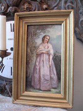 Seltenes antikes kleines Ölgemälde einer Dame auf Holz