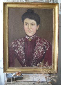 Zauberhaftes antikes Porträt einer Dame 19. Jahrhundert