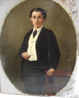 Antikes Jungen Porträt Öl auf Leinen 19. Jahrhundert