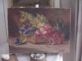 Zauberhaftes altes Ölbild Blumenkorb Stilleben