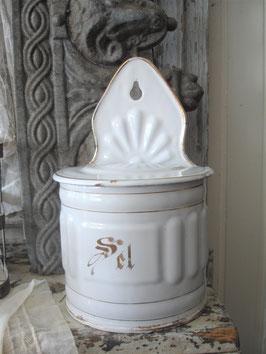 Alter französischer Emaille Salz  Vorratsbehälter