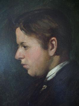 Antikes Herren Porträt / Profilansicht, Ölgemälde 19. Jahrhundert
