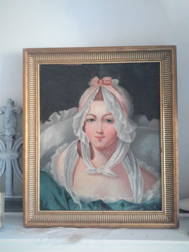 Zauberhaftes antikes Porträt einer jungen Dame 19. Jahrhundert Frankreich