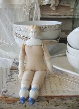 Alte China Porzellankopf Puppe
