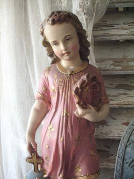 Shabby: Zauberhafte große religiöse Figur Gips Frankreich