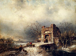 Villagers On A Frozen Path