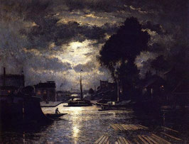 Canal in Saint-Denis - Effect of Moonlight