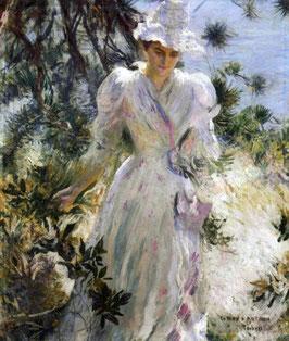 My Wife, Emeline, in a Garden