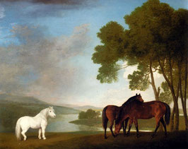 Two Bay Mares And A Grey Pony In A Landscape