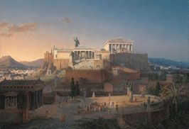 Idealized view of the Acropolis and the Areopagus in Ahens