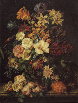 Flowers with Pineapple and Parrot