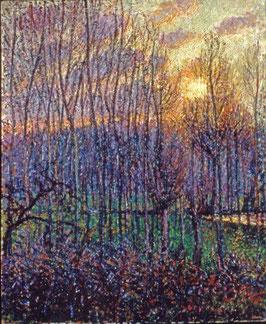 Poplars, Sunset at Eragny