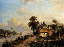 A Summer Landscape With Figures Along A Waterway