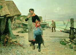 Fisherfolk Returning with their Nets Etretat