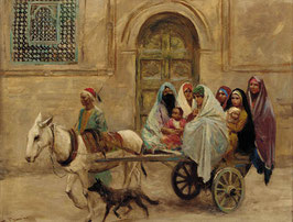 An Arab family on a donkey drawn cart