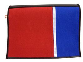 *Reflektor* Wechselklappe Rot Blau für Messengerbag oder Lehrertasche