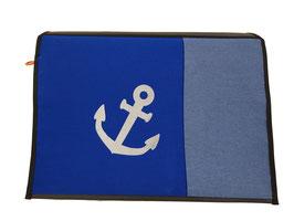 *Reflektor* Wechselklappe Anker auf blau für Messengerbag oder Lehrertasche