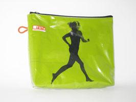 kleine Kulturtasche grün mit Jogger