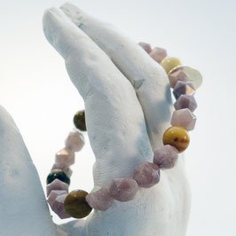 Achat-Armband mit Himmelsauge und braunem Jaspis